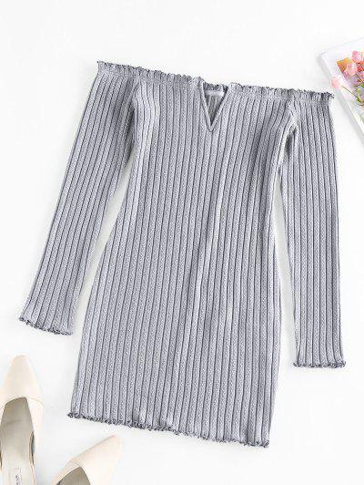 ZAFUL Off Shoulder Frilled V Wired Ribbed Dress - Gray Cloud M