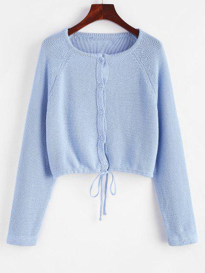 Drawstring Button Up Raglan Sleeve Cardigan - Denim Blue
