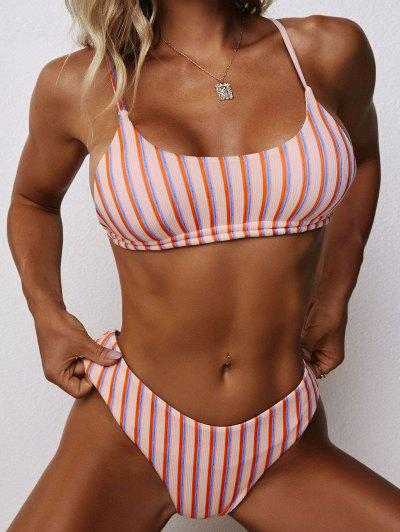 ZAFUL Ribbed Striped Cheeky Bikini Swimwear - Light Pink M