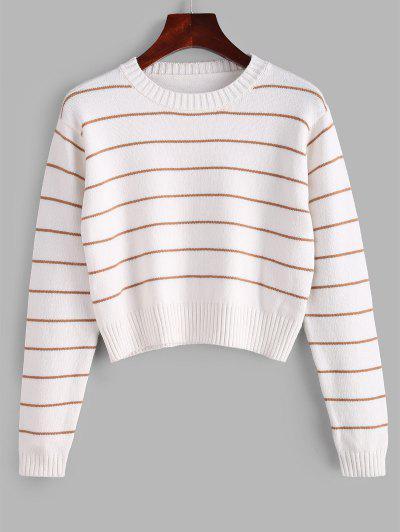 Crew Neck Stripes Cropped Sweater - Milk White