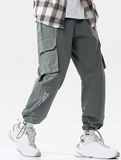 Letter Print Striped Embroidery Cargo Pants - Dark Gray Xl