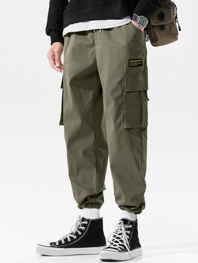 Multi-pocket Applique Casual Long Cargo Pants - Army Green 3xl