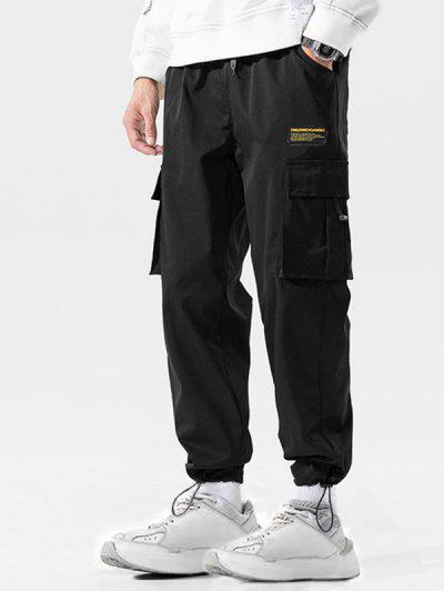 Calças Casuais Multi-bolso Applique Carga Calça Jogger - Preto 4xl