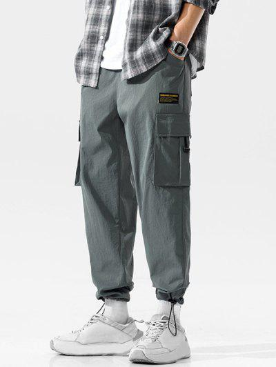 Multi-pocket Applique Casual Long Cargo Pants - Dark Gray 3xl