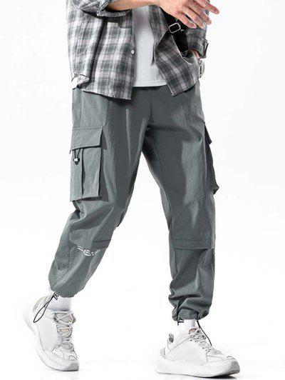 Letter Print Multi-Pocket Long Cargo Pants - Dark Gray M