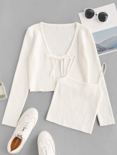 Tie Front Ribbed Cardigan With Knitted Cami Top - Milk White S