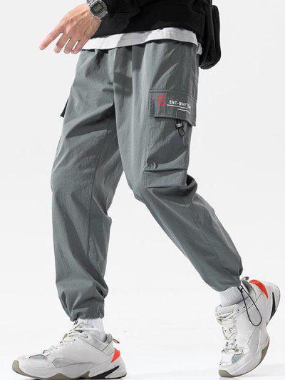 Letter Pattern Toggle Cuff Cargo Pants - Dark Gray 4xl