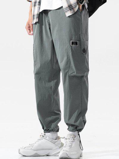 Pantalon Cargo Boucle Avec Bouton à Manchette - Gris Foncé Xl