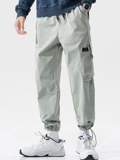 Button Pocket Toggle Cuff Cargo Pants - Light Gray M