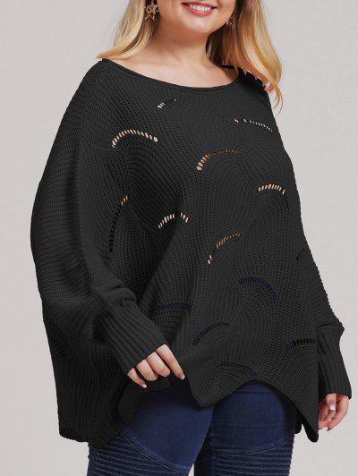 Plus Size Open-knit Asymmetric Sweater - Black 1xl