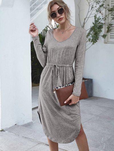 Long Sleeve Tie Waist Casual Dress - Gray S