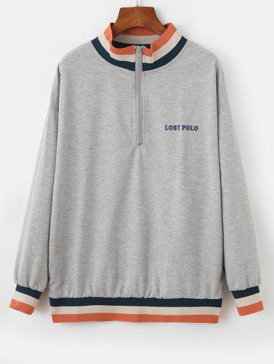 Half Zip Stripes Panel Letter Graphic Sweatshirt - Gray Xl