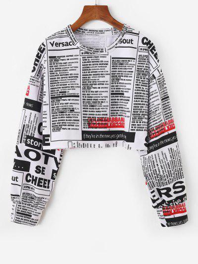 Sweat-shirt Court Oversize Imprimé Journal - Blanc M