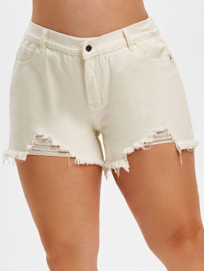 Ripped Frayed Denim Plus Size Cutoff Shorts - White 3xl