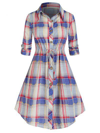Plus Size Plaid Roll Up Sleeve Drawstring Shirt Dress - Light Pink L