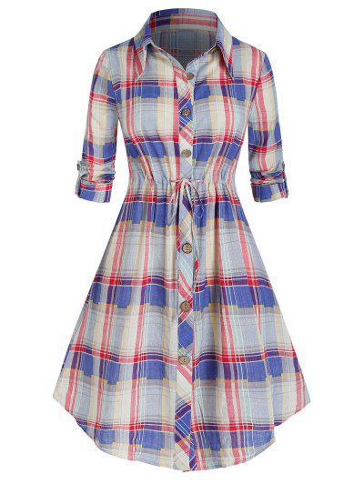 Plus Size Plaid Roll Up Sleeve Drawstring Shirt Dress - Light Pink 3x