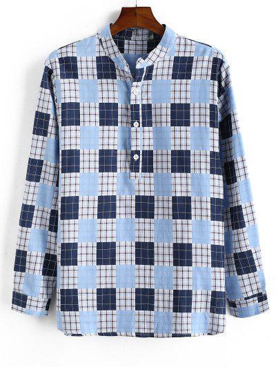 Camisa Xadrez De Mangas Compridas Colar Fique Botões - Azul Claro L