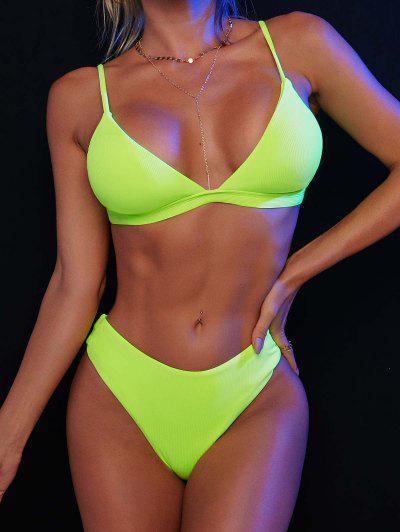 ZAFUL Ribbed Back Strappy Bikini Swimwear - Green M