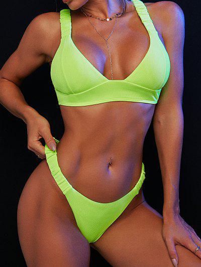 ZAFUL Elasticated Straps Ribbed Bikini Swimwear - Green M