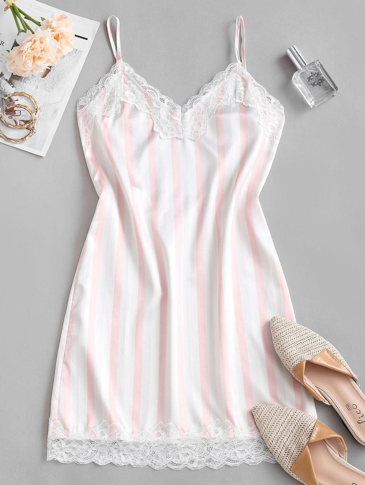 Scalloped Lace Trim Stripes Satin Chemise