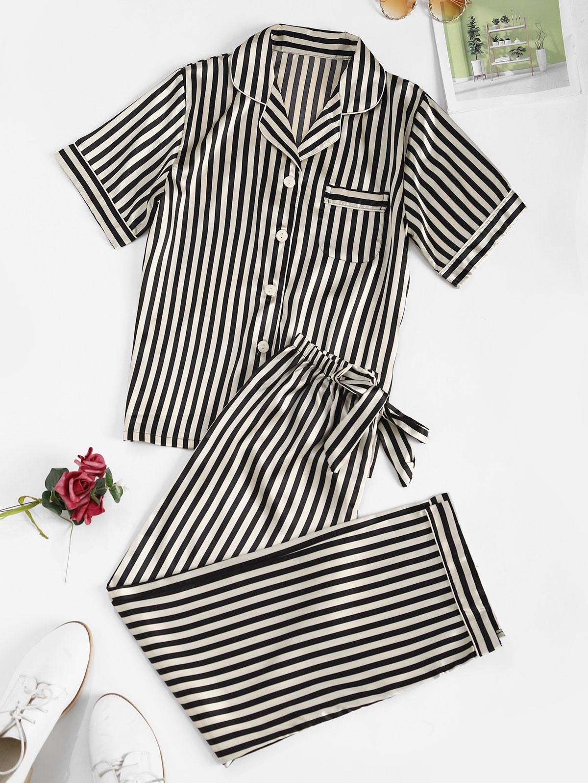 Striped Satin Pocket Pajama Pants Set