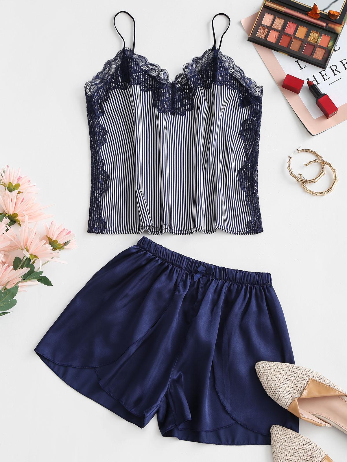 Stripes Scalloped Lace Trim Satin Pajama Set