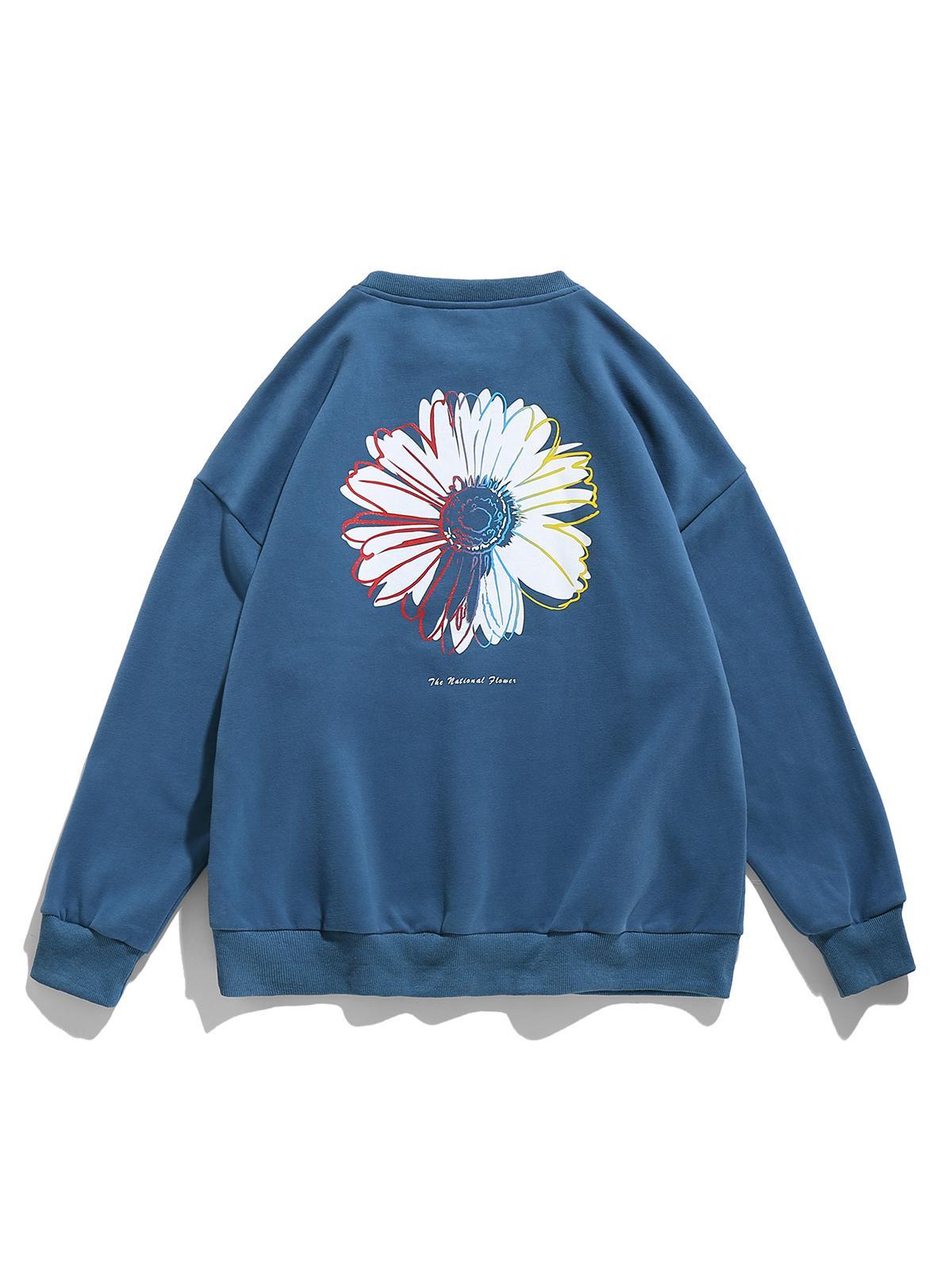 Sweat-shirt Lettre Marguerite Imprimée à Ourlet Côtelé L Bleu de soie