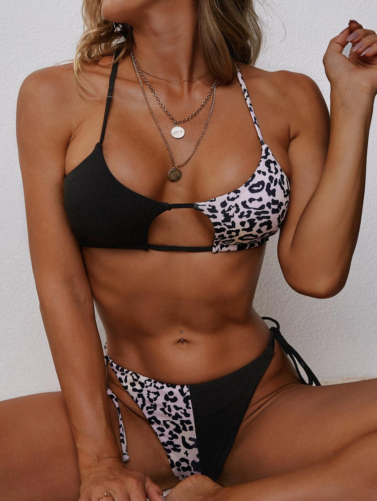 ZAFUL Leopard Ribbed Cutout Tanga Bikini Swimwear