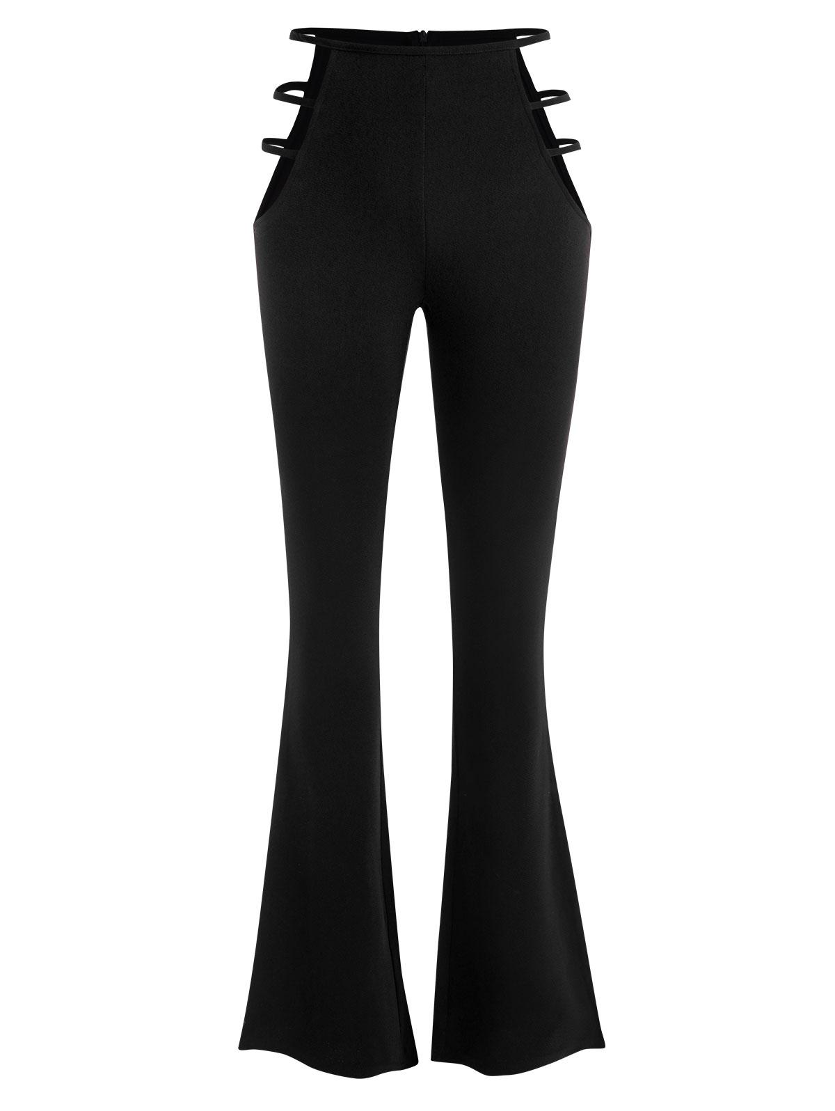 PantalonBootcutDécoupé Texturé à Taille Haute Xl - Zaful FR - Modalova