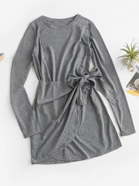 Overlap Knot Long Sleeve Tee Dress - اللون الرمادي M