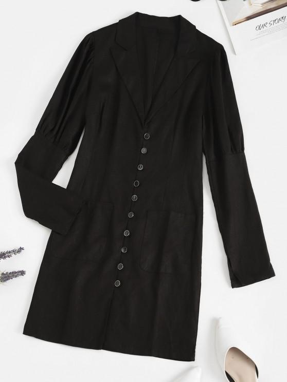 new Lapel Button Loop Pockets Mini Dress - BLACK S