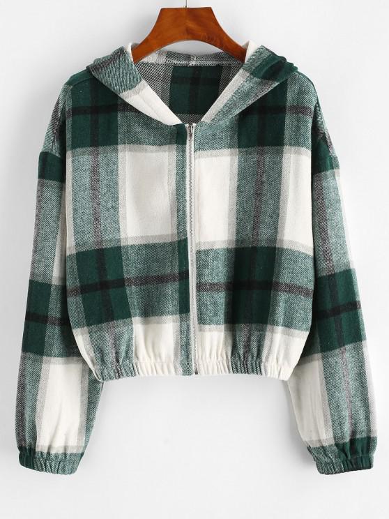 Plaid Fleece Zip Hooded Jacket - اخضر فاتح S