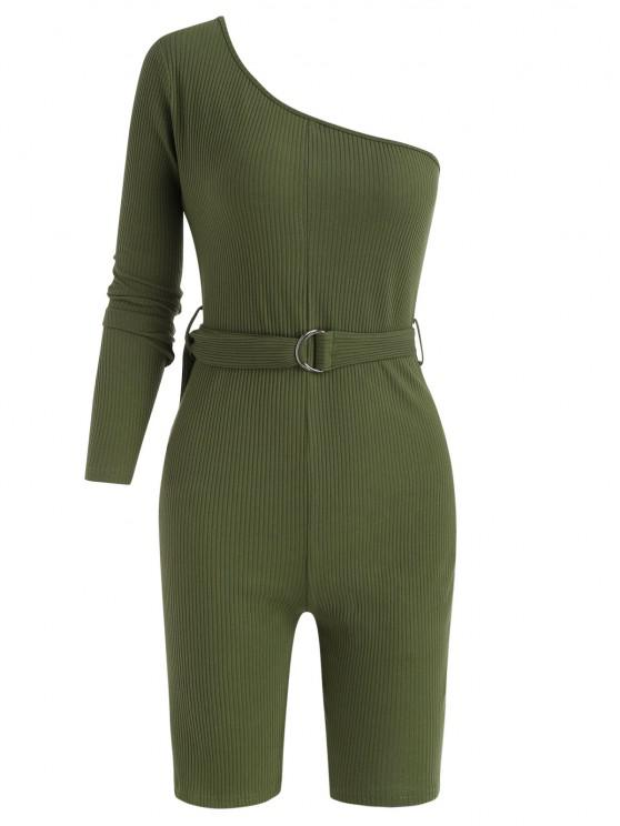 womens Belted One Shoulder Ribbed Unitard Romper - DEEP GREEN S