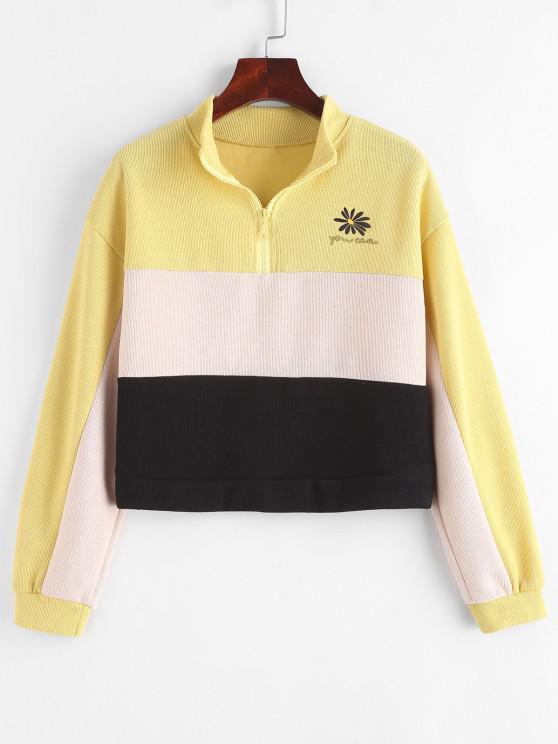Half Zip Colorblock Floral Sweatshirt - متعددة-A M