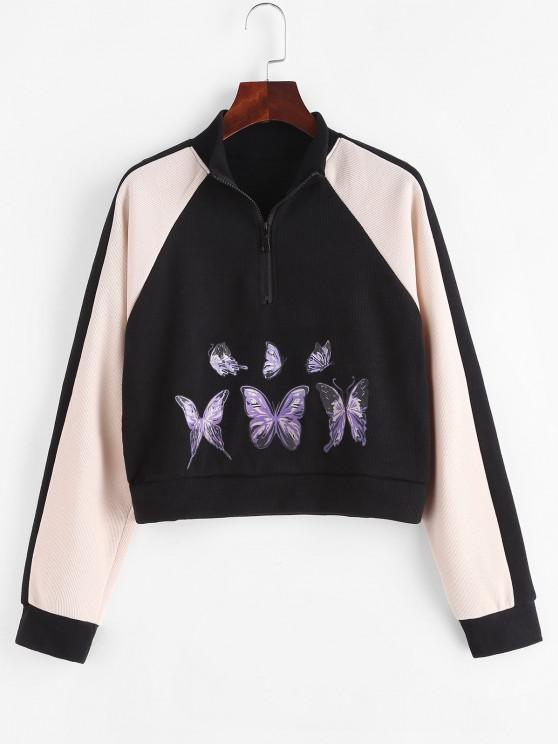 Half Zip Butterfly Colorblock Sweatshirt - أسود M