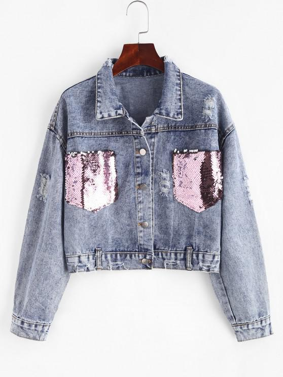 Ripped Sequined Pockets Cropped Denim Jacket - أزرق L