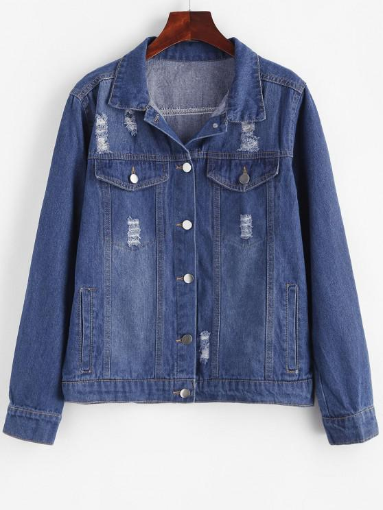 womens Distressed Button Up Pockets Denim Jacket - BLUE M