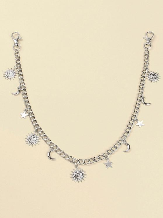 trendy Sun Moon Star Pendant Trousers Chain - SILVER