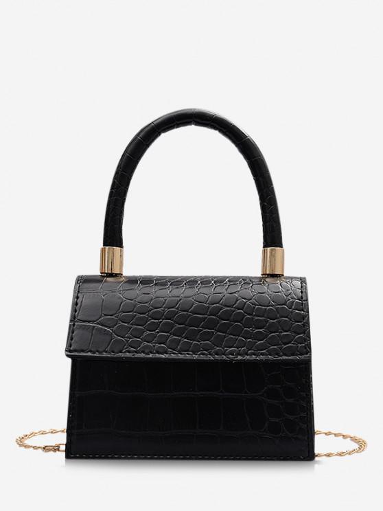 women's Animal Embossed Mini Square Tote Bag - BLACK