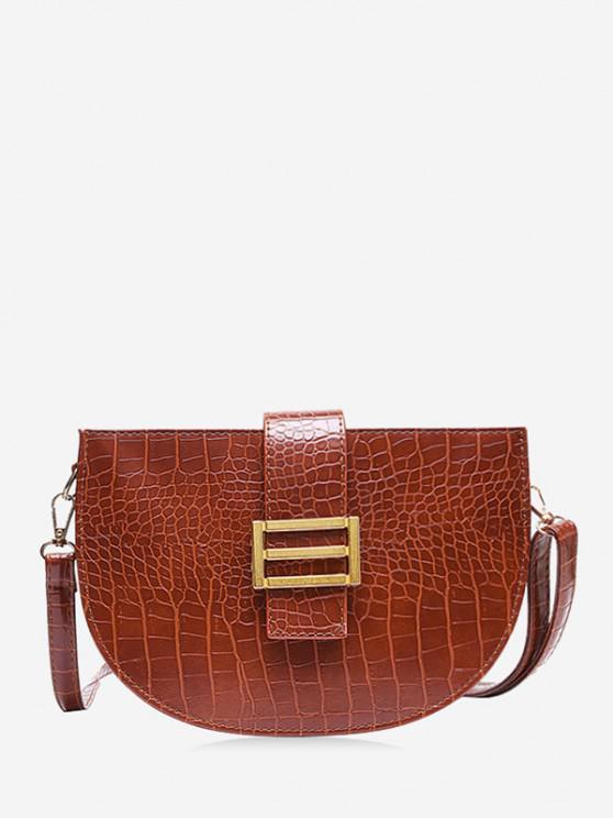 Textured Crossbody Saddle Bag - قهوة