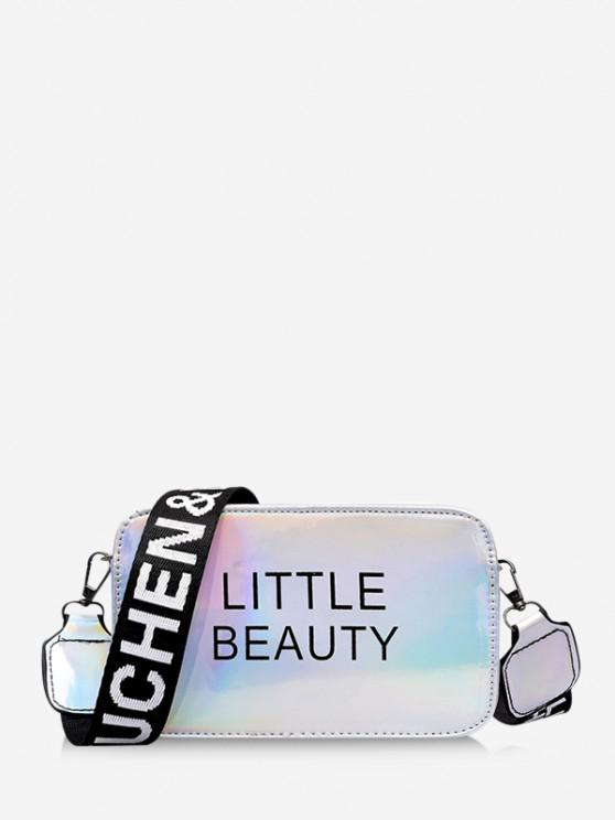 affordable Letter Print Laser Casual Crossbody Bag - SILVER