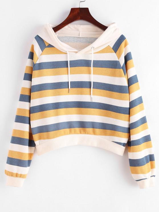 Stripes Raglan Sleeve Ribbed Hoodie - متعددة-B XL