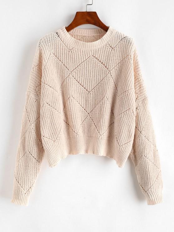 Oversized Pointelle Knit Chenille Sweater - أبيض مقاس واحد
