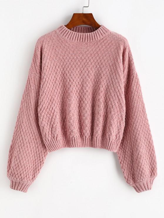 Hängender Schulter Laterne Ärmel Chenille Pullover - Hell-Pink Eine Größe
