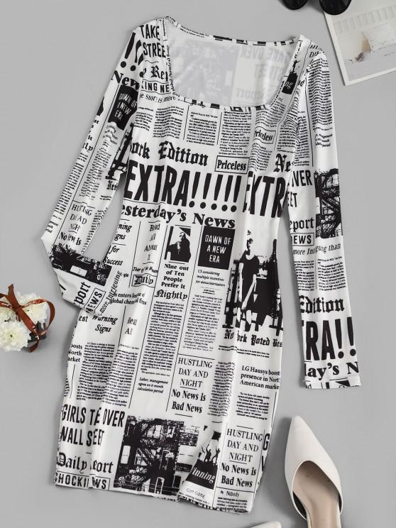Long Sleeve Newspaper Print Milkmaid Dress - أبيض S