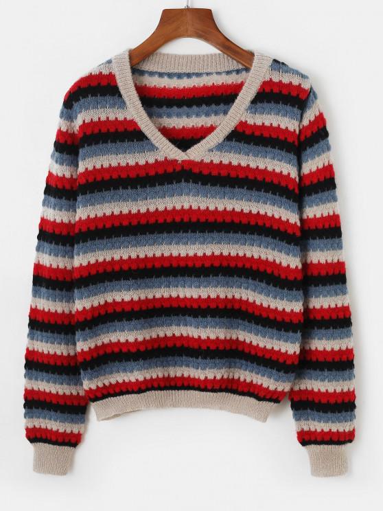 Pullover V Neck Striped Sweater - أزرق حجم واحد