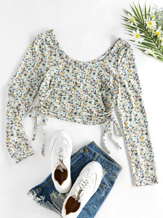 latest ZAFUL Ditsy Print Cinched Cropped T Shirt - LIGHT BLUE M