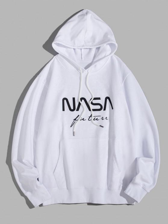 shops Letter Graphic Pouch Pocket Drawstring Hoodie - WHITE S