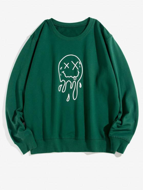 online Crew Neck Drip Face Graphic Lounge Sweatshirt - DEEP GREEN XL