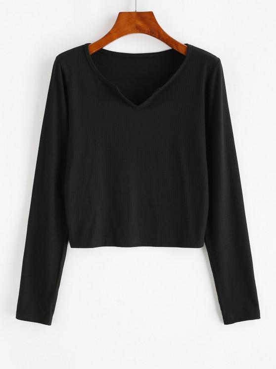 latest Ribbed V Notched Plain T-shirt - BLACK M